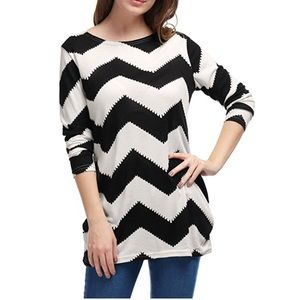 Chevron Zig Zag Knit Relaxed Pull On Sweater